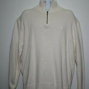Nautica Mens Ivory Long Sleeve Sweater Sz XL